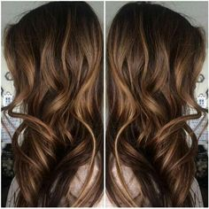 Caramel Highlights in Dark Brown Hair
