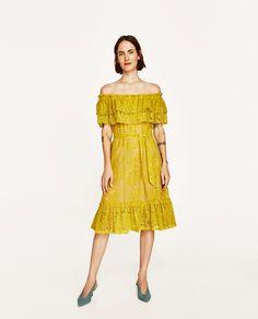 452db1d806bd2 VESTIDO ENCAJE ESCOTE VOLANTES. Summer Wear For WomenOff Shoulder Lace DressYellow  Lace DressesZara ...