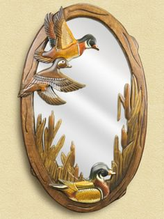 Flying Duck Hand-Carved Wooden Mirror For $298.99