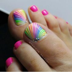 wonderful pedicure designs, 65 Wonderful Pedicure Ideas That You Will Love To Try Pretty Toe Nails, Cute Toe Nails, Fancy Nails, Easy Toe Nails, Crazy Nails, Cute Toes, Bling Nails, Diy Nails, Toe Nail Color