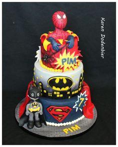Spiderman Batman and Superman cake by Karen Dodenbier