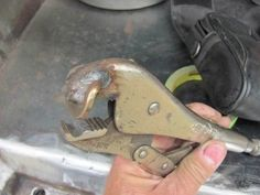 """Bead Forming Tool by MP&C -- Homemade radiator tube bead forming tool fashioned from a pair of Vice-grips and a 5/8"""" washer. Washer was shaped to match the desired bead profile and welded to one jaw of the Vice-grips opposite a matching groove. http://www.homemadetools.net/homemade-bead-forming-tool"""