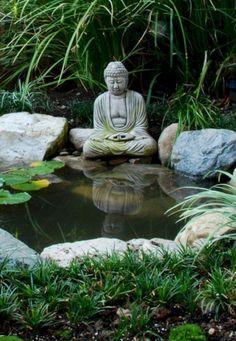 Buddha Garden With Pond (Buddha Garden With Pond) design ideas and photos - Garden Design Ideas 2019 Zen Rock Garden, Zen Garden Design, Japanese Garden Design, Pond Design, Asian Garden, Tropical Garden, Tropical Style, Garden Fountains, Garden Statues