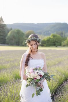Lavender floral crown | Whimsical Tea Party Styled Shoot at McKenzie River Lavender in Springfield, OR | Oregon Bride Magazine | Photo: Ashley Cook Photography