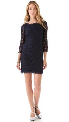 Diane von Furstenberg Zarita Lace Dress - great alternative to the little black dress - it's in navy - fab!