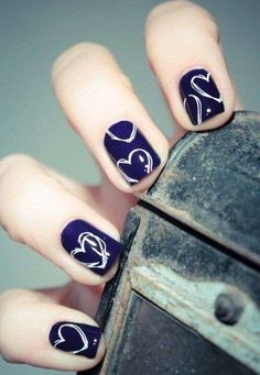 Blues nails with white hearts
