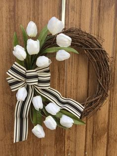Tulip Grapevine Wreath with Farmhouse Striped Ribbon, Spring Tulip Wreath, White Tulip Wreath, Neutr Orange Wedding Colors, Tulip Wreath, Cottage Christmas, Wedding Table Flowers, Great Housewarming Gifts, White Tulips, Farmhouse Style Decorating, Flower Wallpaper, Amazing Flowers
