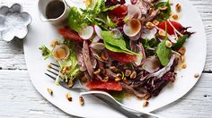 Salad of duck with ruby grapefruit, hazelnuts and radicchio Recipe - Contemporary | Good Food