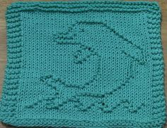 Baby Knitting Patterns Dishcloth Ravelry: Dolphin Dishcloth pattern by Lisa Millan Knitted Washcloth Patterns, Knitted Washcloths, Dishcloth Knitting Patterns, Crochet Dishcloths, Knitting Charts, Loom Knitting, Knitting Stitches, Crochet Patterns, Knitting Squares