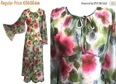 4th JULY SALE 70s Pale Green Floral Chiffon, Chiffon Dress, Dresses For Sale, Dress Sale, Boho Festival, Festival Wedding, Angel Sleeve, Mardi Gras, Green