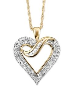 Diamond Heart Necklace in 14k White Gold or 14K Gold (1/2 ct. t.w.) - Yellow