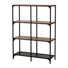 IKEA FJÄLLBO Shelving unit Black 100x136 cm This rustic shelf is made of metal and solid wood which makes every piece of furniture unique.