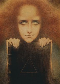 Jean Delville (1867-1953): Belgian symbolist poet painter Delville designed the emblem for the leading decadent Joséphin Peledan, rosecrucian, esoteric spiritual leader and artcritic.