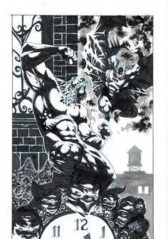 Batman -vs- Swamp Thing - Kelley Jones Comic Art