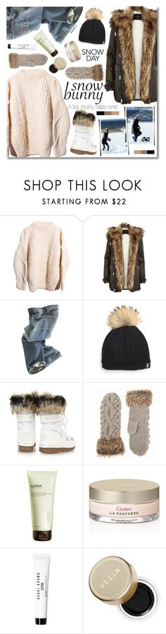 """""""Snow Bunny"""" by talukder ❤ liked on Polyvore featuring Mode, River Island, Polo Ralph Lauren, Moon Boot, NLY Accessories, Ahava, Cartier, Bobbi Brown Cosmetics und Stila"""