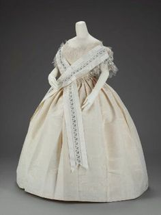Woman's wedding or evening dress (two bodices, skirt, shawl) about 1854 Georgiana Welles (Sargent), American, Place of Use Boston Taffeta Moire