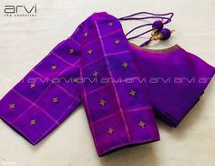 Embroidery for classy lovers. Stunning purple color designer blouse with simple and elegant hand embroidery work. Saree Jacket Designs, Cutwork Blouse Designs, Wedding Saree Blouse Designs, Simple Blouse Designs, Stylish Blouse Design, Blouse Neck Designs, Dress Designs, Viria, Hand Work Blouse Design