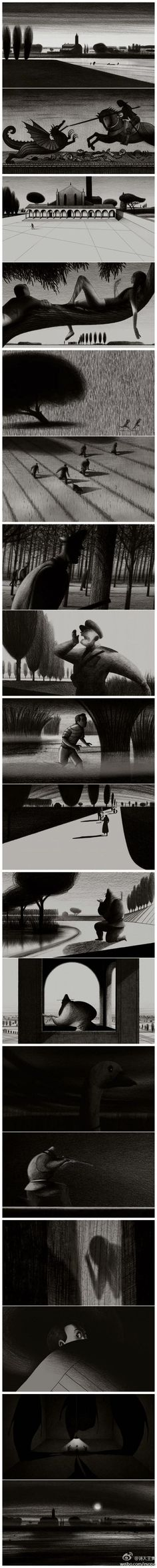 Lorenzo Mattotti, fear of the dark: Storyboard, Black And White Drawing, Black And White Illustration, Lorenzo Mattotti, Fear Of The Dark, Bd Comics, Arte Popular, Photoshop, Comic Artist