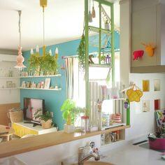 Yukanenkoさんの、ペンダントライト,アニマルヘッド,フランフラン,IKEAがたくさん♪,DIY棚,カラフル,カラフルな部屋,キッチン,のお部屋写真