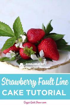 Strawberry Fault Line Cake Tutorial + Video Cake Decorating Designs, Cake Decorating Techniques, Cake Decorating Tutorials, Cake Designs, Decorating Ideas, Fondant Cake Tutorial, Fondant Bow, Fondant Flowers, Fondant Cakes