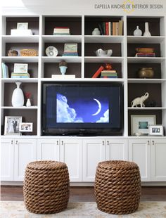Make a built in for shelving and tv. Put doors to cover tv and a few of the shelves. KOL Living Room Bookcase Detail by Capella Kincheloe