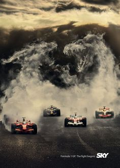 Formula 1 Grand Prix is presented as the ultimate battle between monsters in this print advertisement designed at 1861 United Creative Advertising, Sports Advertising, Advertising Campaign, Ads Creative, Creative Posters, Print Advertising, Motogp, Formula 1, F1 Austin