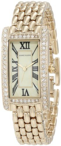 Anne Klein Women's AK/1076CMGB Swarovski Crystal Accented Rectangle Gold-Tone Bracelet Watch - Accented, AK/1076CMGB, Anne, bracelet, Crystal, GoldTone, Klein, Rectangle, Swarovski, Watch, Women's - http://designerjewelrygalleria.com/anne-klein-jewelry/anne-klein-womens-ak1076cmgb-swarovski-crystal-accented-rectangle-gold-tone-bracelet-watch/