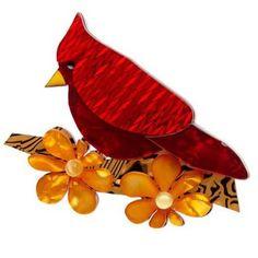 Ruby the Red Cardinal Erstwilder Brooch