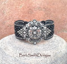 Black Silver Leather Beaded Cuff Bracelet  The by BarbSmithDesigns