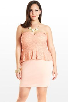 Fashion to Figure - Lace peplum dress - Love the color and the style of the dress #plussize