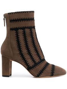 Alexandre Birman Knitted Detail Boots In Brown Suede Leather, Brown Leather, Alexandre Birman, Brown Boots, Booty, Zip, Detail, Heels, Stuff To Buy