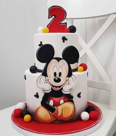 Best dessert recipes that you will love and it's so easy and delicious Baby Boy Birthday Cake, Mickey First Birthday, Mickey And Minnie Cake, Bolo Mickey, Mickey 1st Birthdays, Mickey Mouse Birthday Cake, Mickey Cakes, Disney Birthday, Holiday Desserts