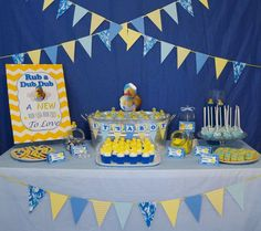 Rubber Duckies and Blue Camo Baby Shower Party Ideas | Photo 10 of 36 Baby Shower Camo, Baby Shower Vintage, Boy Baby Shower Themes, Baby Shower Decorations, Ducky Baby Showers, Rubber Ducky Baby Shower, Baby Girl Camo, Camo Baby Stuff, Shower Party