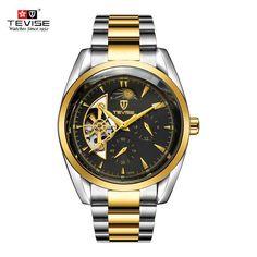 TEVISE Luxury Luminous Automatic Watch Male Clock Business Skeleton Wrist Watch