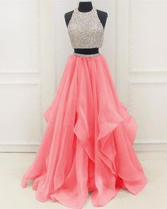 Sequins Beaded Organza Layered Two Piece Ballgowns Prom Dress Pretty Prom Dresses, Pink Prom Dresses, Grad Dresses, Mermaid Dresses, Dance Dresses, Homecoming Dresses, Quinceanera Dresses, Sexy Dresses, Cute Dresses