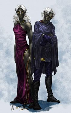 Drow twins by =Gold-Seven on deviantART
