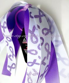 Purple Ribbon Awareness Hair Streamer/ Cheer Bow by cdBowsGalore, $7.99 Purple Ribbon Awareness, Chiari Malformation, Epilepsy Awareness, Make And Sell, How To Make, Cystic Fibrosis, Relay For Life, 22nd Birthday, Seizures
