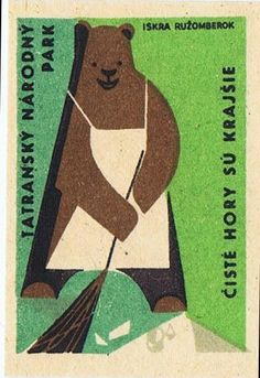 Sweeping Bear, vintage matchbook cover.
