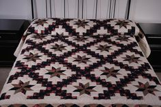 Irish Chain Star Red, Blue and Tan Amish Quilt For Sale