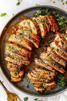 BEST Baked Pork Tenderloin with Garlic Herb Butter pork tenderloin recipes - Dinner Recipes Oven Baked Pork Tenderloin, Best Pork Tenderloin Recipe, Leftover Pork Tenderloin, Marinade For Pork Tenderloin, Pork Roast, Roast Brisket, Pork Tenderloins, Pork Tenderloin Brine, Pork Recipes
