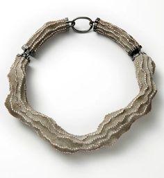 Necklace | Terhi Tolvanen.  'Antoinette'.  Pearls, cement, wood, silver
