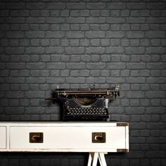Rasch Brick Effect Black Wallpaper - http://godecorating.co.uk/rasch-brick-effect-black-wallpaper/