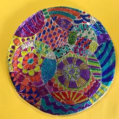 Last week, 5th Grade started their Foil Pattern Dots, inspired by the book, The Dot! September 15th was National Dot Day, and we celebr... Elementary Art Rooms, Art Lessons Elementary, Pattern Dots, The Dot Book, September Art, International Dot Day, 6th Grade Art, Foil Art, School Art Projects