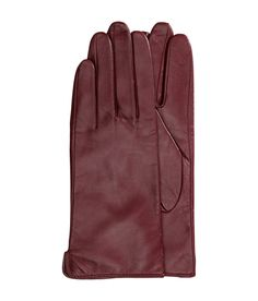 Burgundy premium-quality gloves in soft, supple leather. | H&M Accessories
