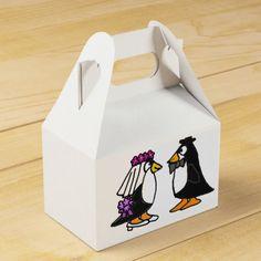 Funny Bride and Groom Penguin Favor Box #wedding #favors #penguins #funny #giftbox And www.zazzle.com/allsmilesweddings*