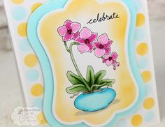 From Sharon Harnist via www.PaperFections.com -- Another in my Beautiful Backgrounds series: Stencil airbrushed with @copicmarker and @PinkInkStampCo Orchids stamp. @tayloredexpress dies.