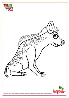 this is hyena from tinga tinga tales colour him in