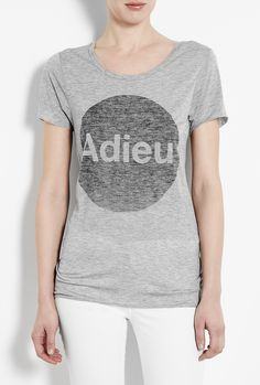 ZOE KARSSEN  ADIEU KARSSEN GREY HEATHER LOOSE FIT BOYFRIEND T-SHIRT  $77.01