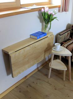 Primitive Small E Saving Table Wooden Wall Mounted Drop Leaf Dining In Solid Birch Slightly Crooked Top Fold Down Desk