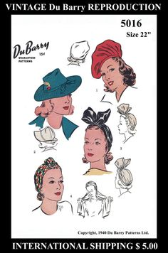 "5016 Vintage Du Barry 22"" Sexy Hot Simple Millinery HATS TURBAN Fabric Material Sewing Sew Pattern Chemo 1940s Millinery Reproduction / Copy"